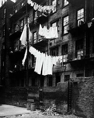 Tenements Photograph - 1930s Tenement Building With Laundry by Vintage Images