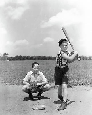 Homeplate Photograph - 1930s Two Boys Batter And Catcher by Vintage Images