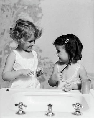 1930s Two Girls At Bathroom Sink Art Print