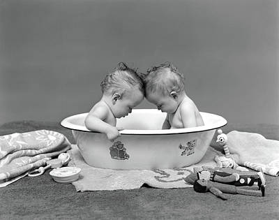 Washtub Photograph - 1930s Two Twin Babies In Bath Tub by Vintage Images