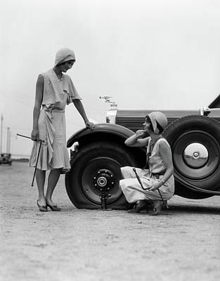 Cloche Photograph - 1930s Two Women Confront An Automobile by Vintage Images