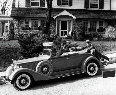 1930s Woman In Car Packard Handing Art Print