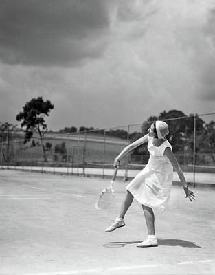 Self-confidence Wall Art - Photograph - 1930s Woman Playing Tennis Swinging by Vintage Images