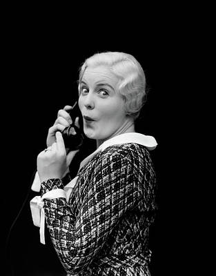 Shock Photograph - 1930s Woman Talking On Telephone by Vintage Images