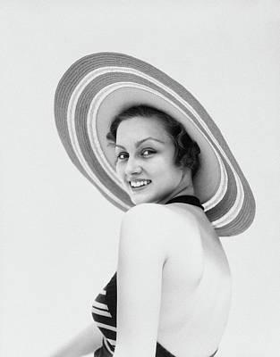 1930s Woman Wearing Striped Halter Top Art Print