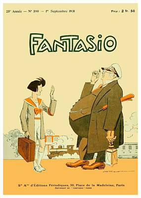 Rire Digital Art - 1931 - Fantasio French Magazine Cover - September - Color by John Madison