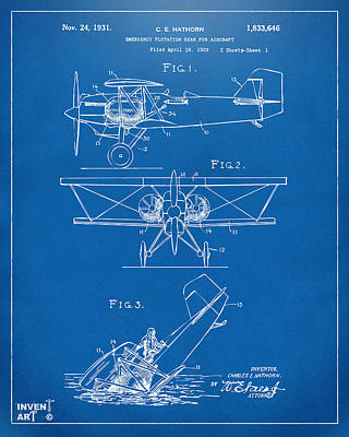 Cave Digital Art - 1931 Aircraft Emergency Floatation Patent Blueprint by Nikki Marie Smith