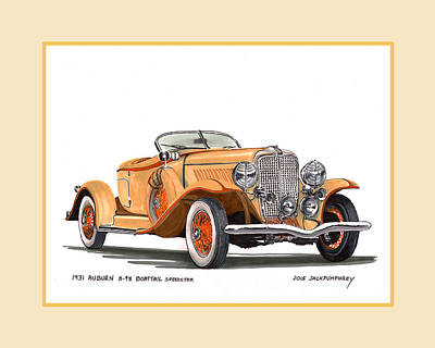 Auburn 8 98 Boattail Speedster Art Print by Jack Pumphrey