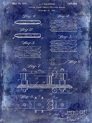 Cuban Photograph - 1931 Cigar Filler Patent Drawing Blue by Jon Neidert