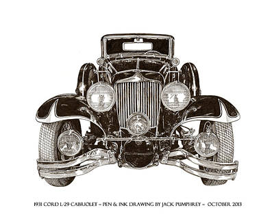 Alaska Drawing - 1931 Cord Cabriolet L 29 by Jack Pumphrey