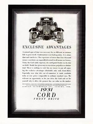Drawing - 1931 Cord Cabriolet L 29 Vintage Ad by Jack Pumphrey