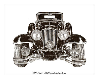 Drawing - Cord L 29 Cabriolet 1931 by Jack Pumphrey