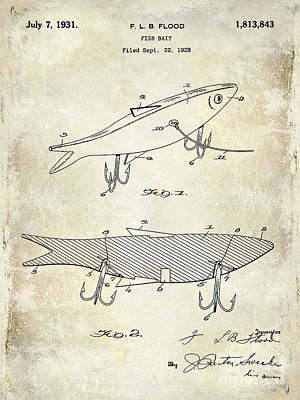 Smallmouth Bass Photograph - 1931 Fish Bait Patent Drawing by Jon Neidert