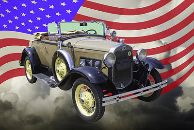 Photograph - 1931 Ford Model A Cabriolet And American Flag. by Keith Webber Jr