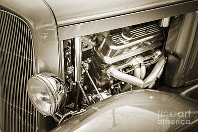 Rat Rod Digital Art - 1931 Ford Model A Engine Classic Car In Sepia 3213.01 by M K  Miller