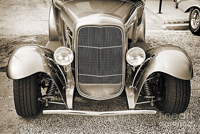 Rat Rod Digital Art - 1931 Ford Model A Front End Classic Car In Sepia 3214.01 by M K  Miller