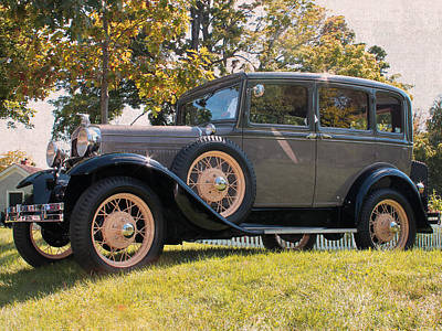 1931 Ford Sedan On Hill At Greenfield Village In Dearborn Michigan Art Print by Design Turnpike