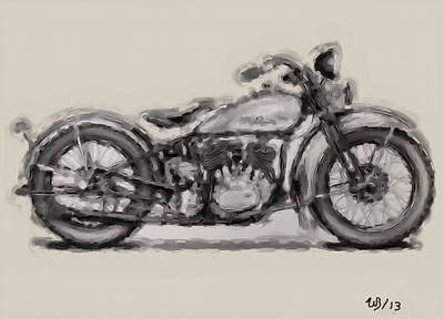 Motorbike Painting - 1931 Harley Model D by Wayne Bonney