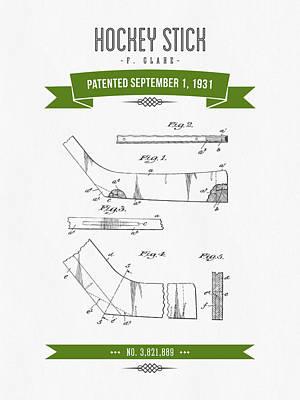 1931 Hockey Stick Patent Drawing - Retro Green Art Print by Aged Pixel