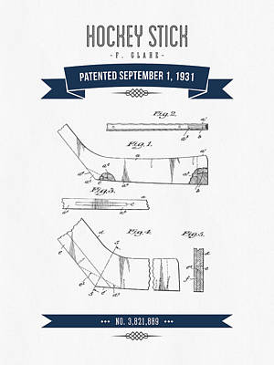 1931 Hockey Stick Patent Drawing - Retro Navy Blue Art Print by Aged Pixel