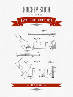 1931 Hockey Stick Patent Drawing - Retro Red Art Print by Aged Pixel