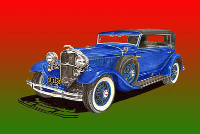 Painting - 1931 Lincoln K Four Door Convertible by Jack Pumphrey