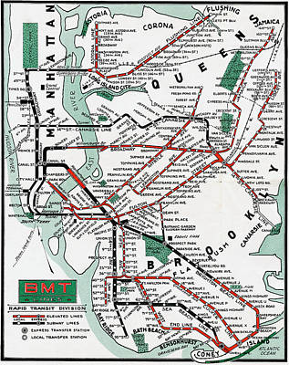 Photograph - 1931 Map Brooklyn Manhattan Transit by BMT Lines