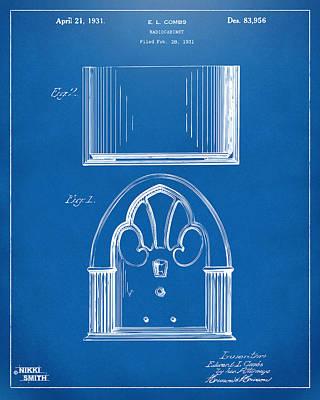 Drawing - 1931 Philco Radio Cabinet Patent Artwork - Blueprint by Nikki Marie Smith