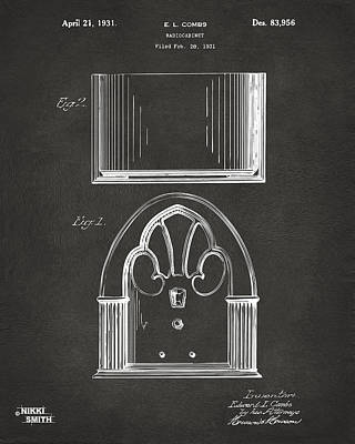 Celebrities Digital Art - 1931 Philco Radio Cabinet Patent Artwork - Gray by Nikki Marie Smith