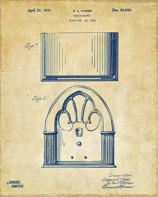 Drawing - 1931 Philco Radio Cabinet Patent Artwork - Vintage by Nikki Marie Smith