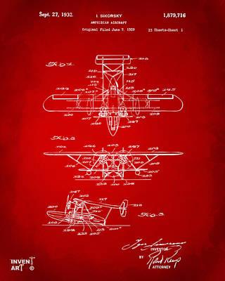 Digital Art - 1932 Amphibian Aircraft Patent Red by Nikki Marie Smith