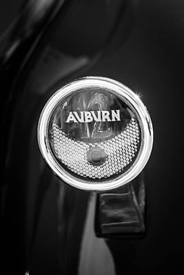 Photograph - 1932 Auburn Twelve Custom Phaeton Taillight Emblem -0649bw3 by Jill Reger
