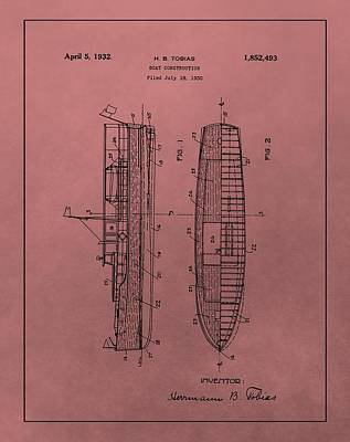 Boating Mixed Media - 1932 Boat Patent Red by Dan Sproul
