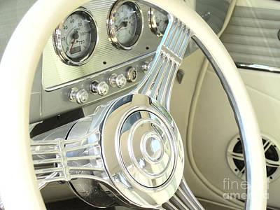 1932 Cabriolet Hupmobile Steering Art Print by Margaret Newcomb