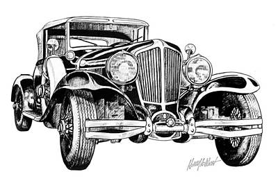 Vintage Car Drawing - 1930 Cord by Harry West