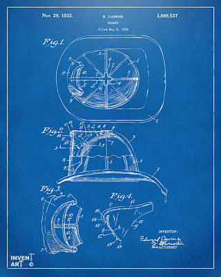 Digital Art - 1932 Fireman Helmet Artwork Blueprint by Nikki Marie Smith