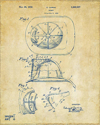 Six Shooter Drawing - 1932 Fireman Helmet Artwork Vintage by Nikki Marie Smith