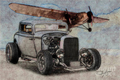1932 Ford Coupe And Ford Trimotor Plane Art Print