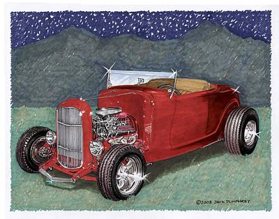 Classic Car Drawings Painting - 1932 Ford High Boy by Jack Pumphrey