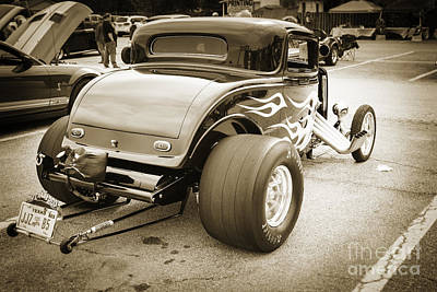 Photograph - 1932 Ford Highboy Back View Classic Car Automobile In Sepia  310 by M K  Miller