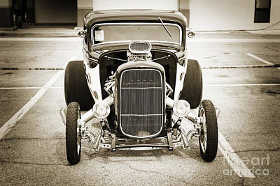 Photograph - 1932 Ford Highboy Front Grill Car Automobile In Sepia  3105.01 by M K  Miller