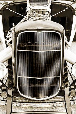Photograph - 1932 Ford Highboy Grill Only Car Automobile In Sepia  3106.01 by M K  Miller