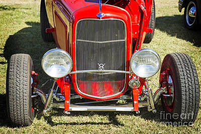 Photograph - 1932 Ford Roadster Front End Automobile Classic Car In Color  30 by M K  Miller