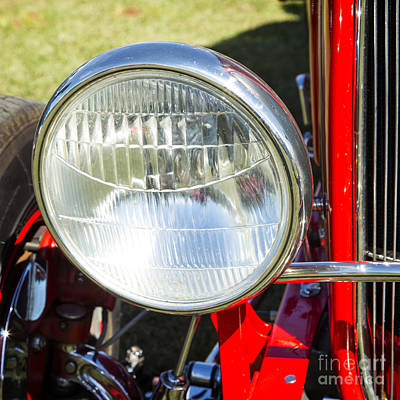 Photograph - 1932 Ford Roadster Headlight Automobile Classic Car In Color  30 by M K  Miller