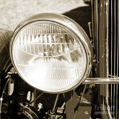 Photograph - 1932 Ford Roadster Headlight Automobile Classic Car In Sepia  30 by M K  Miller