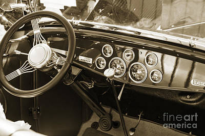 Peddle Car Photograph - 1932 Ford Roadster Interior Automobile Classic Car In Sepia  306 by M K  Miller