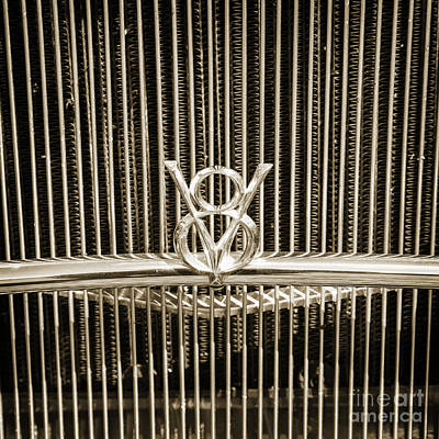 Photograph - 1932 Ford Roadster V8 Emblem Automobile Classic Car In Sepia  30 by M K  Miller