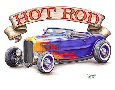 Roadster Drawing - 1932 Hot Rod Roadster by Shannon Watts