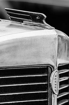 Photograph - 1932 Marmon Sixteen Lebaron Victoria Coupe Hood Ornament - Grille Emblem - 1904bw by Jill Reger