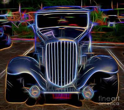 1932 Nash Coupe Antique Car - Neon 2 Art Print